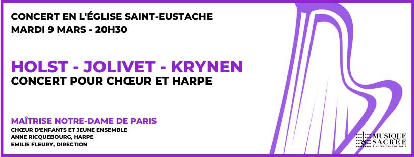 Concert pour chœur et harpe – Holst, Jolivet, Krynen