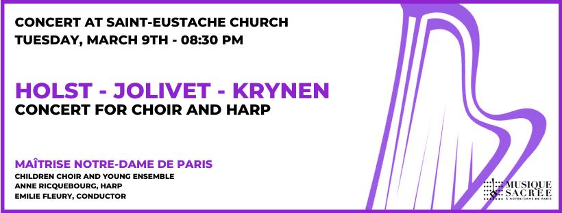 Concert for choir and harp – Holst, Jolivet, Krynen